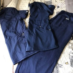 Navy Blue Scrubs Small Tops Medium Pants